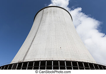 cooling tower outside of a thermal power plant