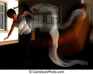 Ghost in The House - Ghost haunting the interior of a house.