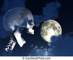 Shouting Skeleton And Nighttime Sky - A shouting skeleton...