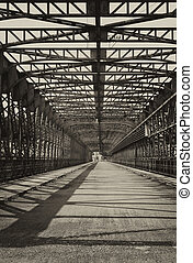 Vintage iron truss bridge - Vintage photo of old iron truss...