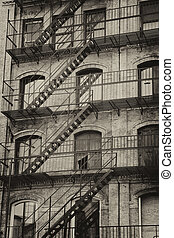 Old building with outdoor staircase - Vintage photo of old...