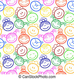 Seamless pattern with childrens faces