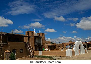 San Geronimo Chapel in Taos Pueblo, USA - TAOS PUEBLO, USA -...