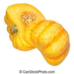 Yellow Squash - A yellow squash vegetable, cut in half...