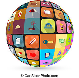 Abstract globe with flat icons