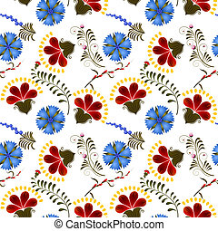 Seamless texture with red and blue flowers