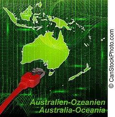 Map of australia-oceania with borders in network design