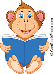 Cute monkey reading book - Vector illustration of Cute...