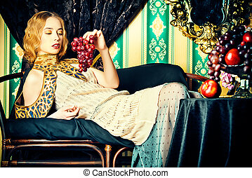 aristocratic - Beautiful fashion model in a rich historical...