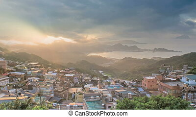 Jiufen, Taiwan - The seaside mountain town scenery in...