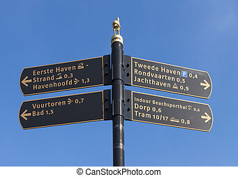 sign post - direction sign post in Scheveningen, netherlands