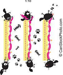 Baby height measure with funny cats vector in original...