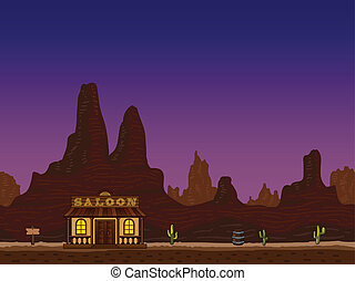 Night cayon with saloon - Night canyon with wild west saloon...