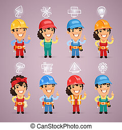 Builders with Icons Set. In the EPS file, each element is...