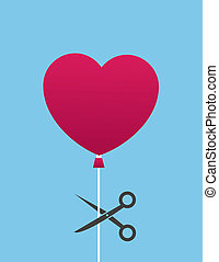 Balloon Scissor Cut Heart - Heart balloon about to be cut by...