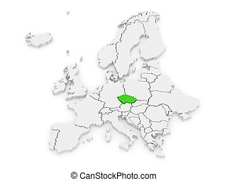 Map of Europe and Slovakia. 3d