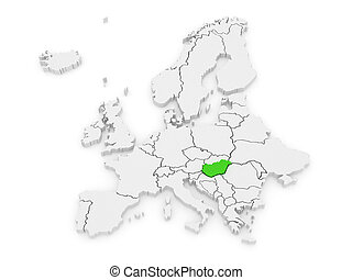 Map of Europe and Hungary 3d