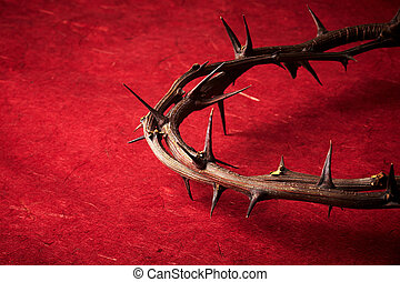 week of passion. Jesus Christ crown of thorns on red...