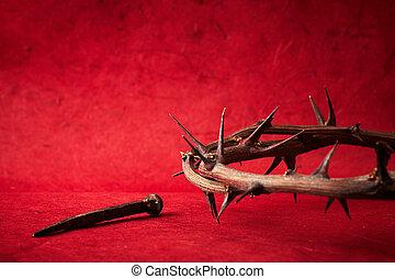 week of passion Jesus Christ crown of thorns and a nail on...