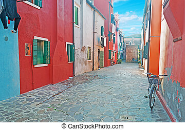 Backstreet in Burano - glimpse of a backstreet in Burano