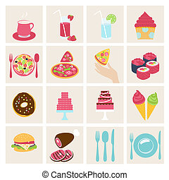 Set of vector food icons