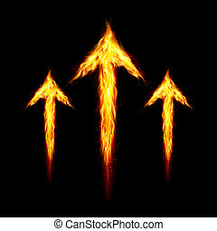 Three fire arrows directed upward. Illustration on black...