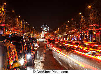 Avenue des Champs-Élysées - December illumination and...