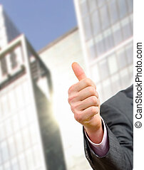 hand with thumb up - Businessman showing ok with tumb up on...