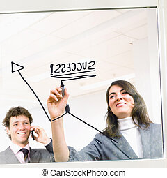 Businesspeople and graph