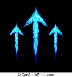 Three fire arrows - Three blue fire arrows directed upward...