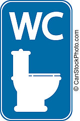 Toilet sign on white background.