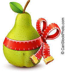 Pear with measure tape ribbon bow