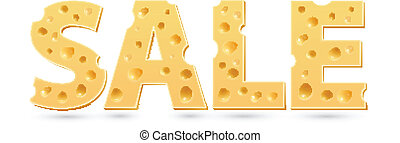 Sale word of cheese. Vector word template