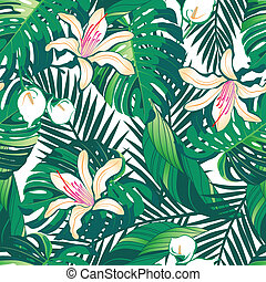 Tropical lush flowers seamless pattern on a white background...