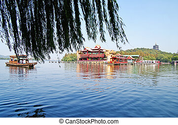 Chinese park in Hangzhou near Xihu Lake, China Beautiful...