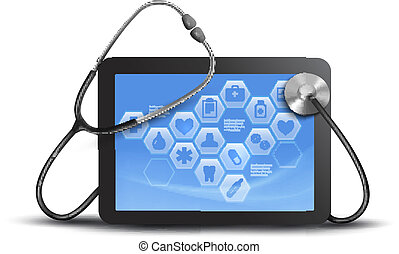tablet screen with medical icons and stethoscope. Vector.