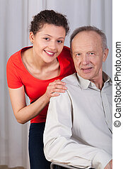 Disabled man and his granddaughter - Disabled man on...