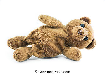 brown teddy bear isolated on white background - brown teddy...