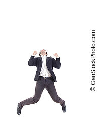 Business man jumping of joy and success with legs spread,...