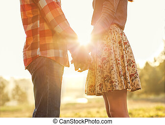 joven, pareja, amor, ambulante, otoño, parque,...
