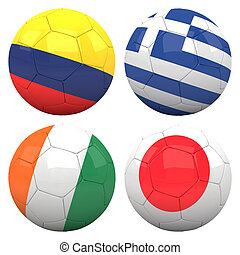 3D soccer balls with group C teams flags, Football Brazil 2014. isolated on white