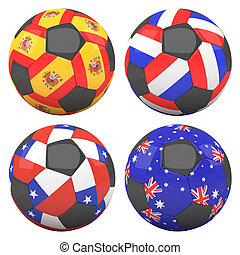 3D soccer balls with group B teams flags, Football Brazil 2014. isolated on white