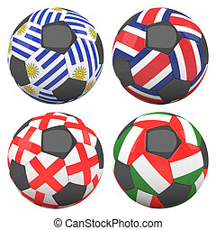 3D soccer balls with group D teams flags, Football Brazil 2014. isolated on white