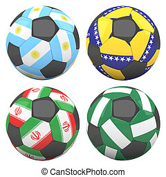 3D soccer balls with group F teams flags, Football Brazil 2014. isolated on white