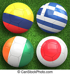 3D soccer balls with group H teams flags, Football Brazil 2014. isolated on white