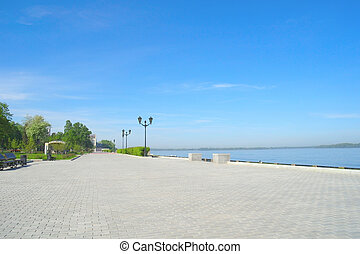 View on quay of river Volga in the city Samara