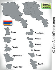 Map of Armenia with borders in gray