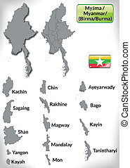 Map of myanmar with borders in gray
