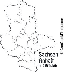 Map of Saxony-Anhalt with borders in gray
