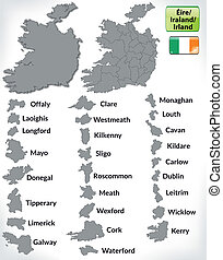 Map of Ireland with borders in gray